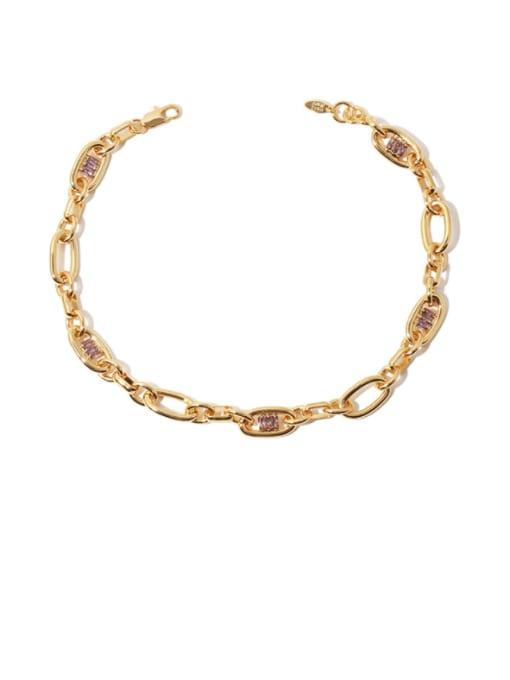 Gold necklace Brass Cubic Zirconia Geometric Hip Hop Necklace