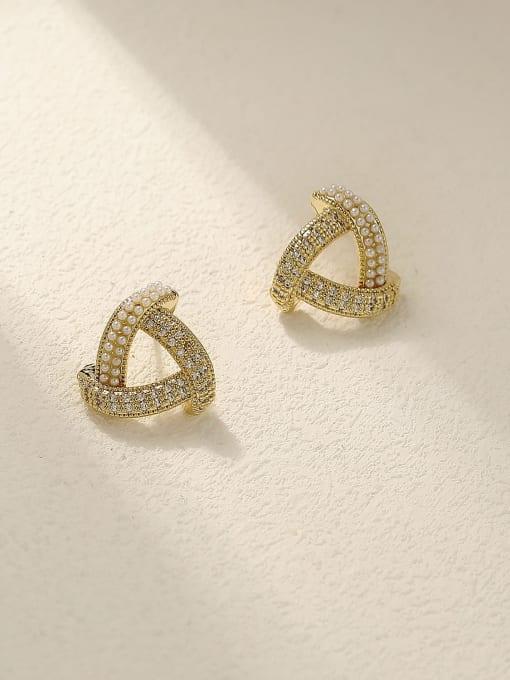 HYACINTH Brass Cubic Zirconia Triangle Minimalist Stud Earring 2