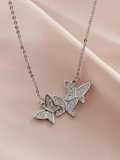 HYACINTH Brass Cubic Zirconia Butterfly Minimalist Necklace 2