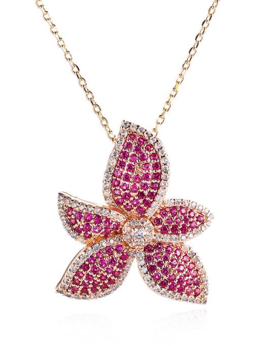 YILLIN Brass Cubic Zirconia Flower Minimalist Necklace 0