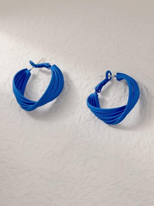 blue Brass Enamel Geometric Minimalist Hoop Trend Korean Fashion Earring