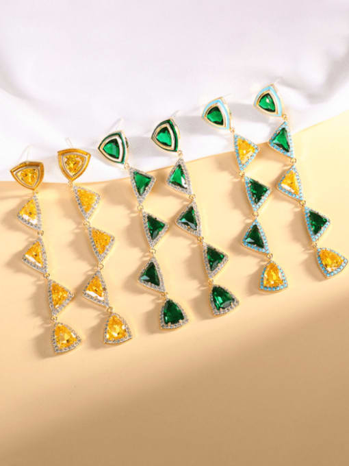 OUOU Brass Cubic Zirconia Triangle Luxury Drop Earring 1
