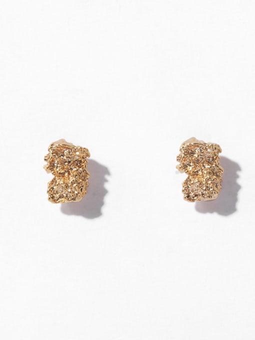 Geometric fold Earrings Brass Irregular Vintage Stud Earring