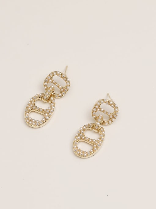 14K gold Brass Imitation Pearl Geometric Vintage Drop Earring