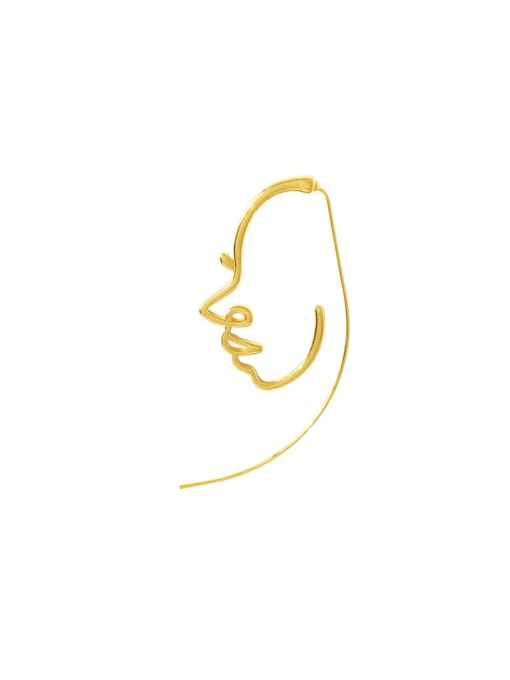 HYACINTH Brass Face Vintage Hollow abstract art face Stud Earring 1
