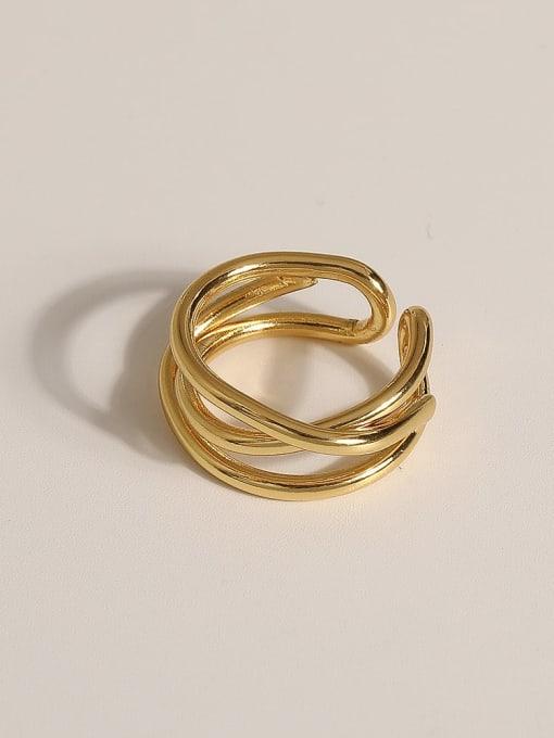 JZ107 Brass Geometric Vintage Band Ring