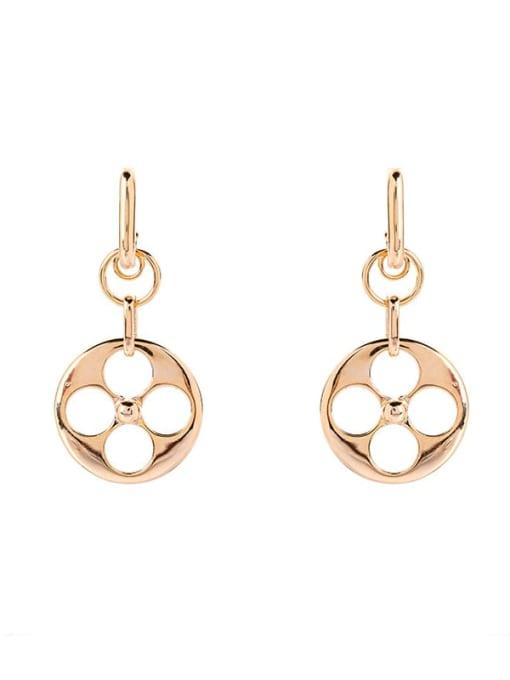 Round Brass Hollow Geometric Minimalist Huggie Earring