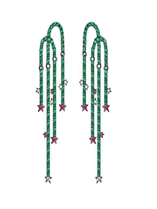 OUOU Brass Cubic Zirconia Leaf Luxury Drop Earring 0