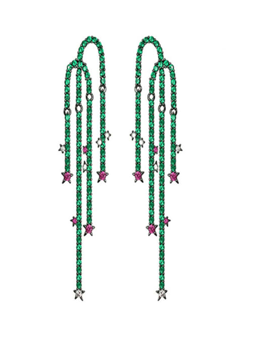 OUOU Brass Cubic Zirconia Leaf Luxury Drop Earring