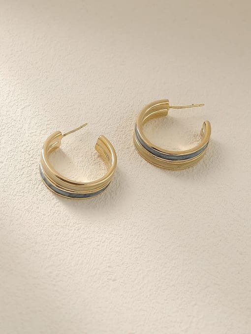 Light blue beibai Brass Enamel Geometric Vintage Stud Earring