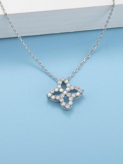 YILLIN Brass Cubic Zirconia Minimalist Clover  Pendant Necklace 2