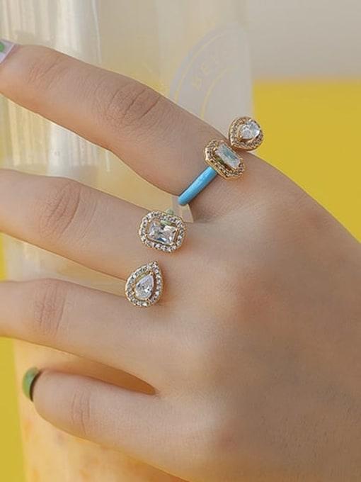 Five Color Zinc Alloy Enamel Glass Stone Geometric Minimalist Band Ring 1