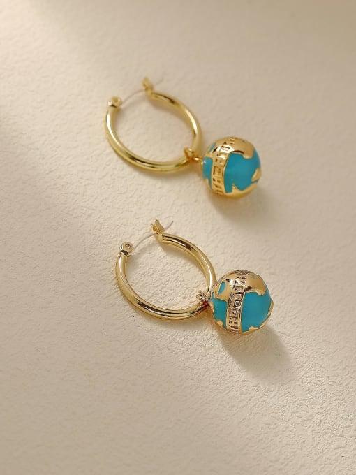 HYACINTH Brass Enamel Round Ball Vintage Huggie Trend Korean Fashion Earring 3