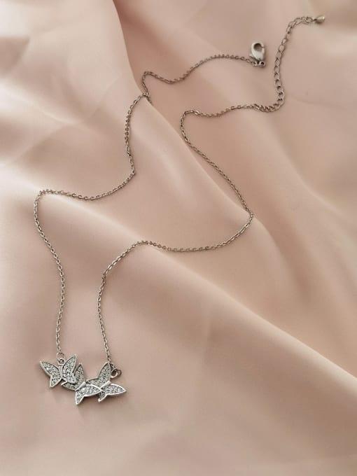 HYACINTH Brass Cubic Zirconia Butterfly Minimalist Necklace 3