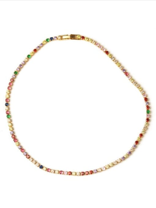 Necklace Brass Cubic Zirconia Multi Color Geometric Vintage Choker Necklace