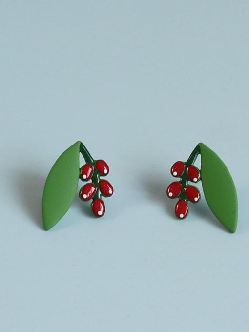 Five Color Alloy Enamel Friut Cute Stud Earring 4