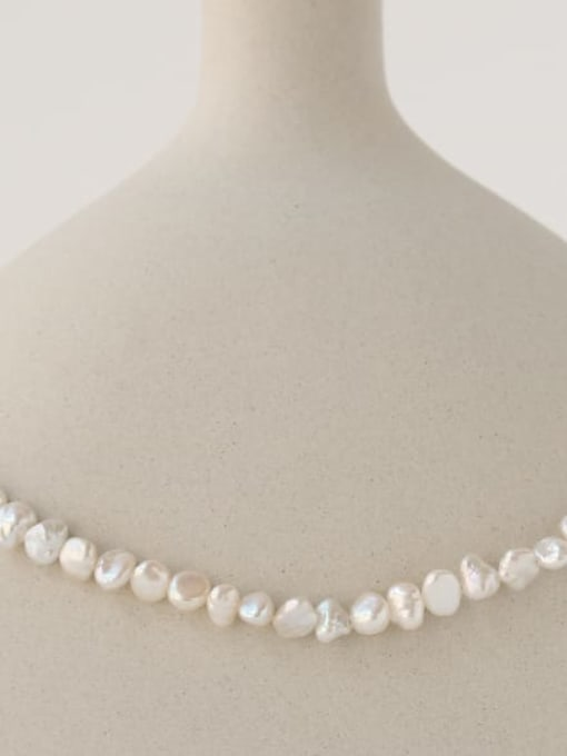 TINGS Brass Freshwater Pearl Irregular Minimalist Necklace 2