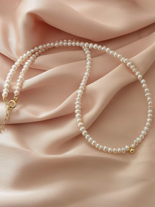 HYACINTH Brass Imitation Pearl Round Vintage Necklace 0