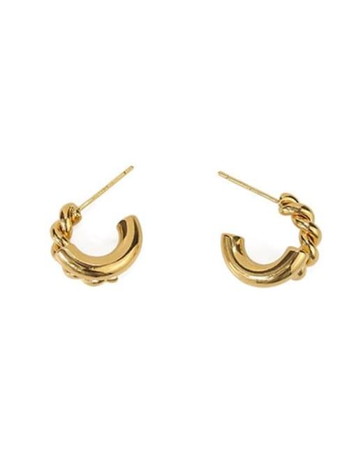 golden Brass Irregular Hip Hop Stud Earring