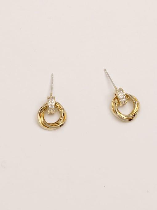 HYACINTH Brass Rhinestone Geometric Vintage Stud Earring 3