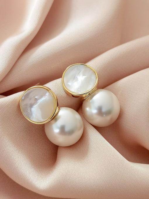 16K gold Brass Imitation Pearl Geometric Minimalist Drop Earring