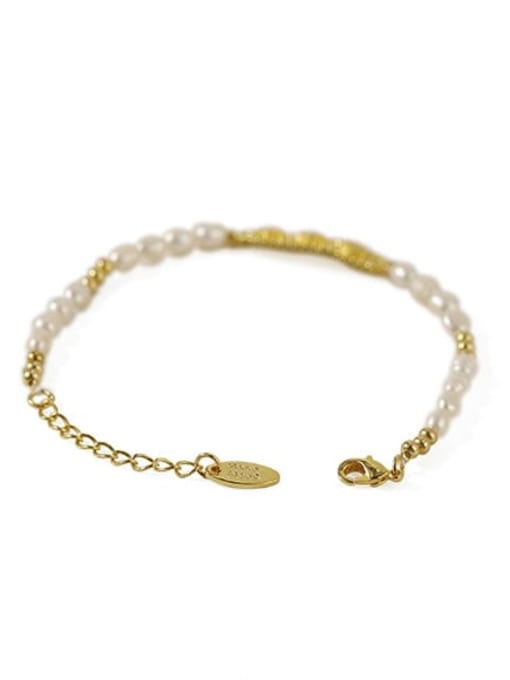 ACCA Brass Freshwater Pearl Flower Vintage Bracelet 2