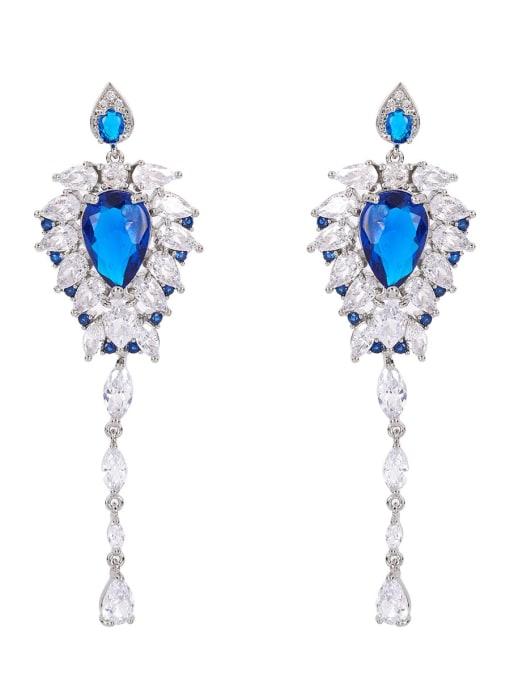 OUOU Brass Cubic Zirconia Tassel Luxury Threader Earring 4