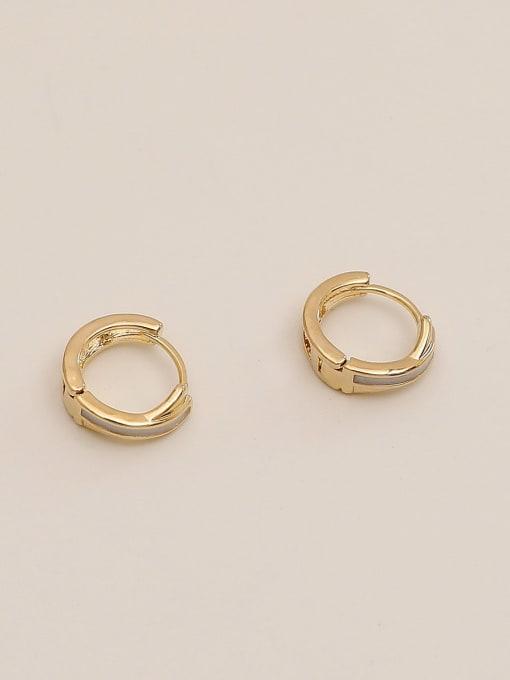 HYACINTH Brass Cubic Zirconia Geometric Minimalist Huggie Earring 4