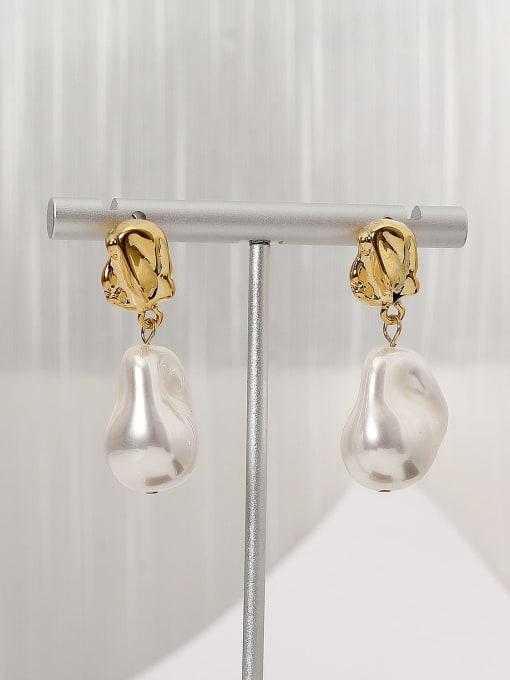 HYACINTH Brass Freshwater Pearl Geometric Minimalist Drop Earring
