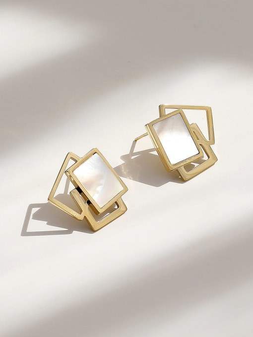 HYACINTH Brass Shell Geometric Minimalist Stud Earring 3