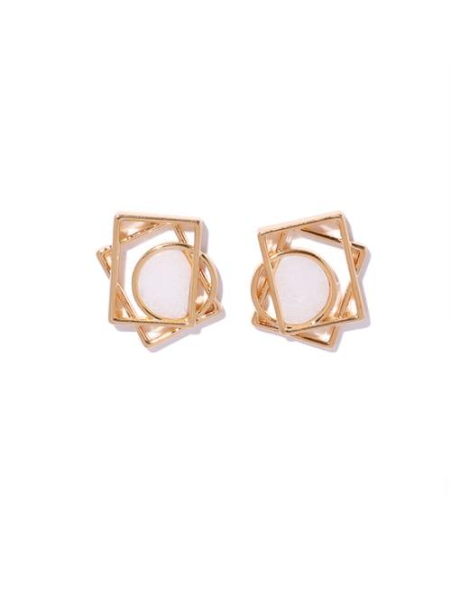 golden Brass Hollow Geometric Minimalist Stud Earring