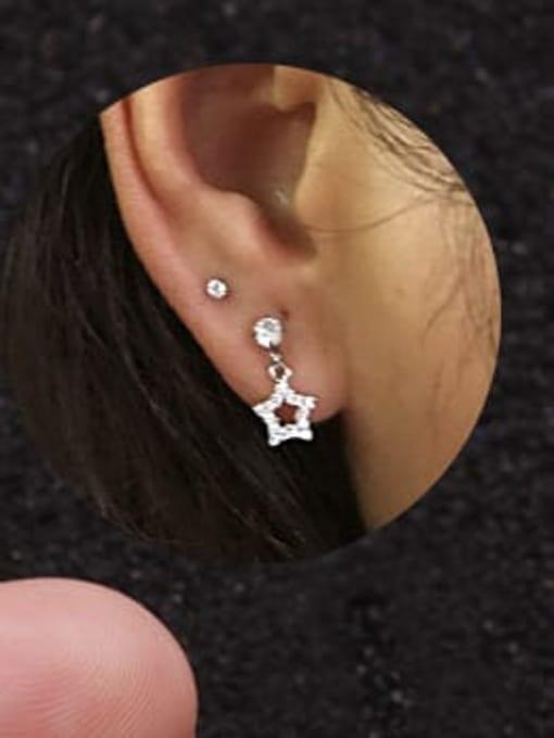 HISON Brass Cubic Zirconia Geometric Cute Stud Earring 2