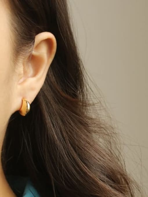 ACCA Brass Smooth Moon Vintage Stud Earring 1