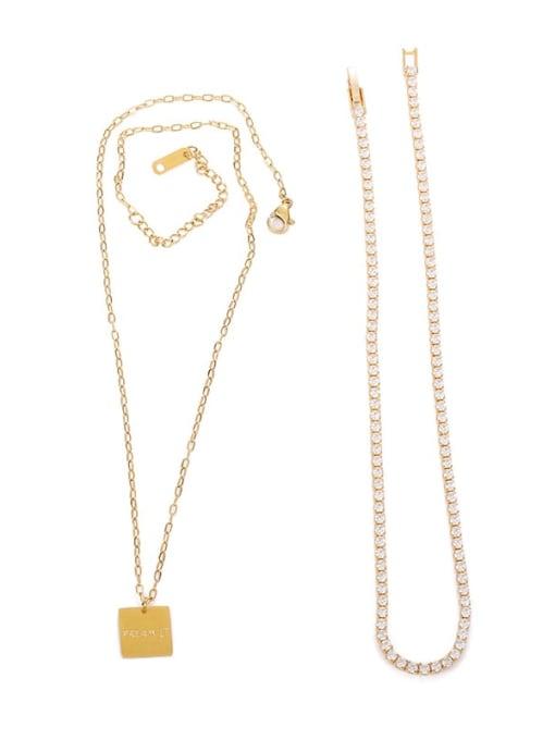 Five Color Brass Cubic Zirconia Geometric Vintage Necklace 3