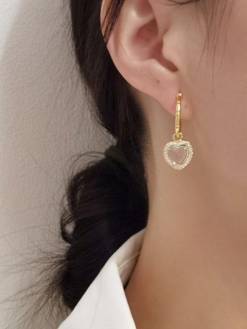 HYACINTH Brass Glass Stone Heart Minimalist Huggie Earring 1
