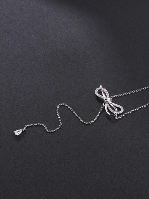 Platinum White Brass Cubic Zirconia Tassel Minimalist Lariat Necklace