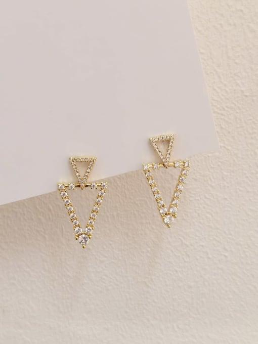 14k Gold Brass Cubic Zirconia Geometric Minimalist Stud Earring