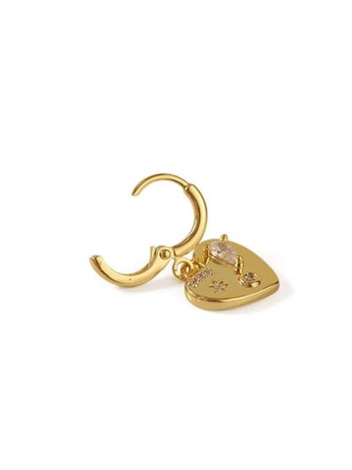 ACCA Brass Cubic Zirconia Heart Vintage Huggie Earring 2