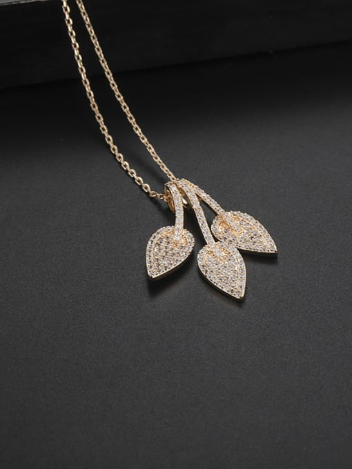 Champagne gold Brass Cubic Zirconia Leaf Minimalist Necklace