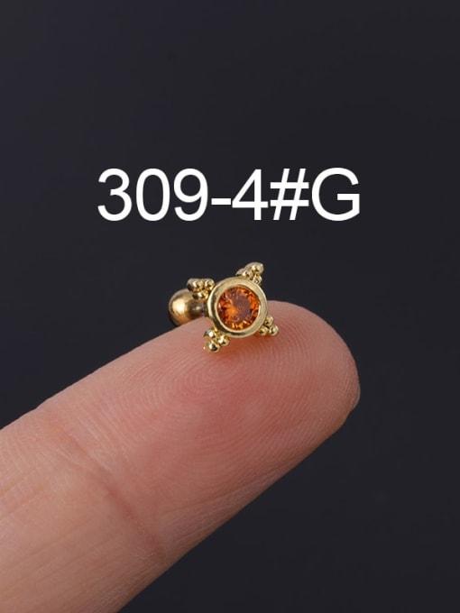 4 Gold Single Brass Cubic Zirconia Geometric Hip Hop Chandelier Earring