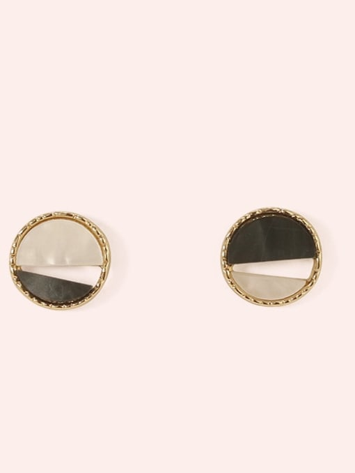 Section 4 Alloy Enamel  Cute Round Contrasting Color  Stud Earring
