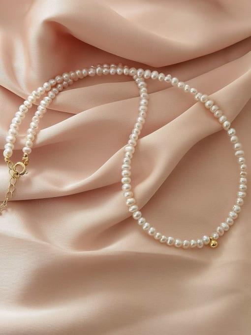 14K gold Brass Imitation Pearl Round Vintage Necklace