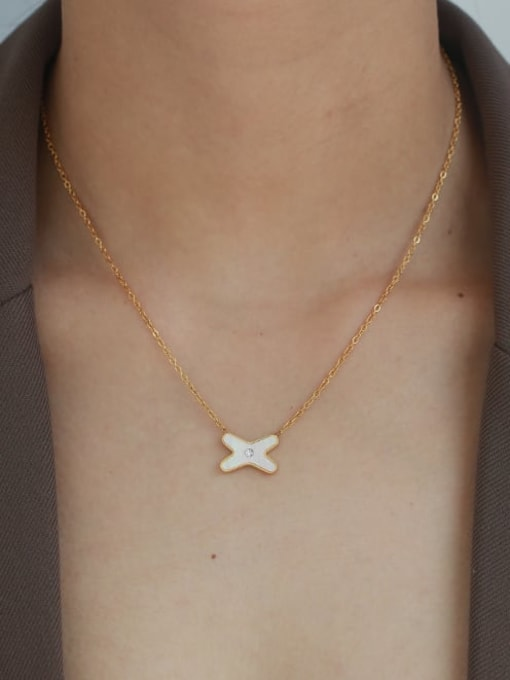 Five Color Brass Shell Letter Minimalist Necklace 1