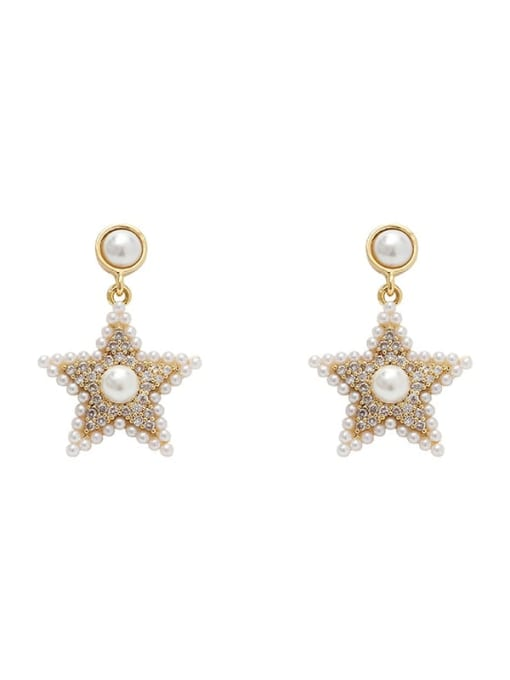 HYACINTH Brass Cubic Zirconia Star Vintage Stud Earring 0