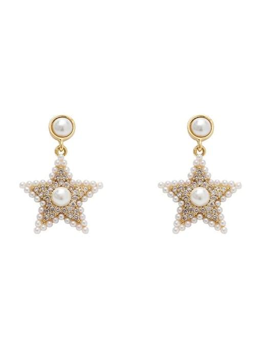 HYACINTH Brass Cubic Zirconia Star Vintage Stud Earring