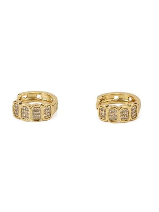 A golden diamond single Brass Cubic Zirconia Geometric Vintage Huggie Earring