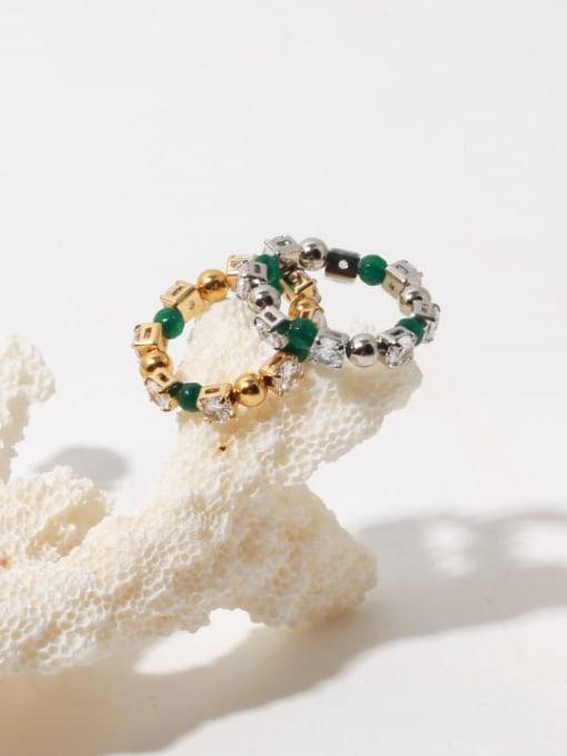 TINGS Brass Cubic Zirconia Geometric Vintage Bead Ring 0