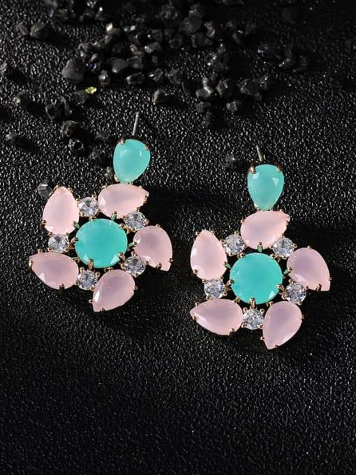 OUOU Brass Opal Flower Luxury Drop Earring 3