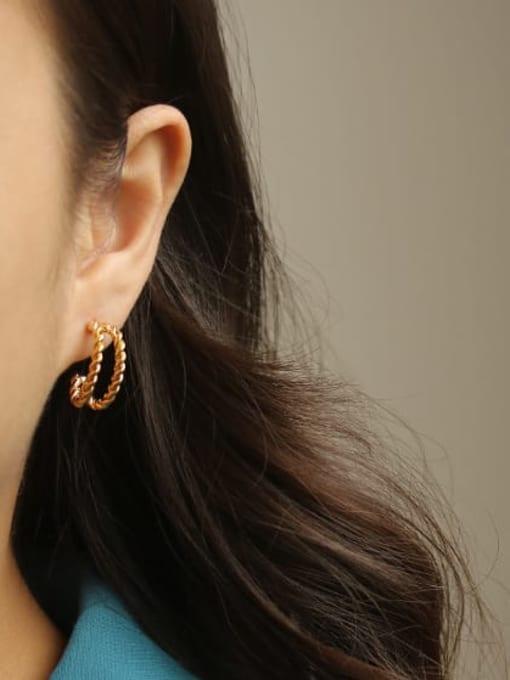 ACCA Brass  Smooth Irregular Vintage Stud Earring 3