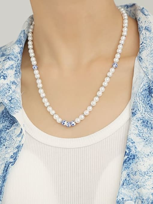 TINGS Brass Imitation Pearl Round Minimalist Beaded Necklace 1